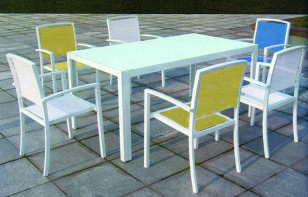 Tavolo e sedie per esterno alluminio bianco sunset for Sedie in alluminio